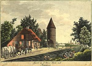"""Teilansicht, Döhrener Turm, """"Aussicht am Döhrener Thurm nach Hannover"""".: Hannover:"""