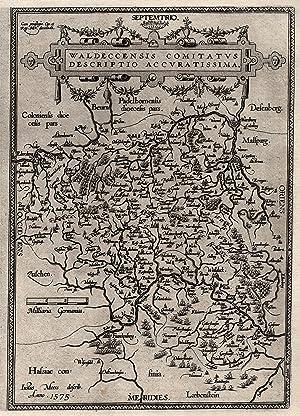 """Kst.- Karte, n. J. Moers aus Ortelius, """"Waldeccensis comitatvs descriptio accvratisssima"""".:..."""