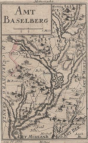 """Kupferstich- Karte, v. von V.L. von Seckendorff, """"Amt Baselberg"""".: Baselberg:"""