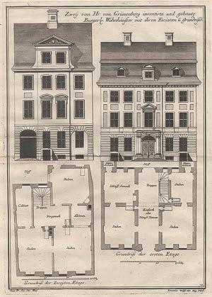 """2 Darstellungen auf 1 Blatt. """"Zwey von Hr. von Grünenberg inventierte und gebaute Burgerl. ..."""
