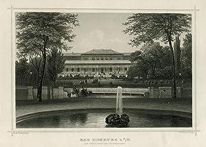 Teilansicht, Kurhaus, Blick auf die Terrassenseite, i. Vgr. Springbrunnen.: Bad Homburg V. D. Höhe: