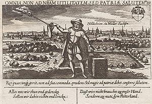 """Gesamtansicht, darunter Vers, """"Hildesheim in Nieder Sachsen. B 29"""".: Hildesheim:"""