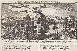 "Gesamtansicht, rechts oben Wappen, darunter Vers, ""Franckfuhrt am Mayn. A88"".: Frankfurt:"