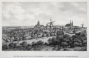 """Gesamtansicht, """"Ansicht der Stadt Cleve, aufgenommen vor dem Mullerhause auf dem Muhlenberge&..."""