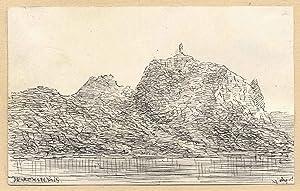 Teilansicht, Blick vom Rhein auf die Burgruine.: Königswinter: Drachenfels: