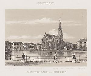 """Teilansicht, Kirchen """"Johanneskirche und Feuersee"""".: Stuttgart:"""