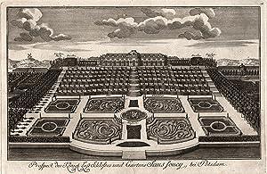 Gesamtansicht aus halber Vogelschau, mit Schloss, Terrassenanalage, Bildergalerie und Neue Kammern,...