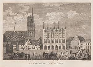 Teilansicht, Marktplatz m. Rathaus und Nicolaikirche.: Stralsund: