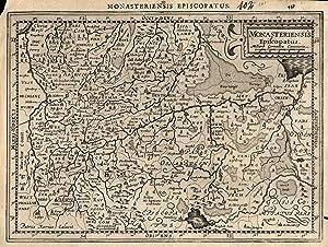 """Kupferstich- Karte, n. P. Kaerius b. Cloppenburg, """"Monasteriensis episcopatus"""".: Münster ( ..."""