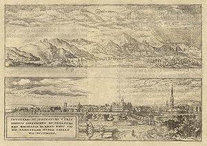 2 Gesamtansicht, ( je 6,3 x 20 ) auf einem Blatt.: Darmstadt und Zwingenberg: