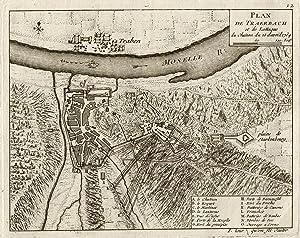 """Plan de Traerbach et de Lattaque du chataue du 15 Avril 1734"""".: Traben - Trarbach:"""