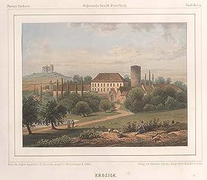 Blick zum Rittergut Krosigk, links i. Hgr. der Petersberg.: Krosigk/Krs. Saalkreis: