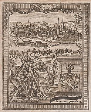 Gesamtansicht, darunter Wappen und Allegorie.: Weimar: