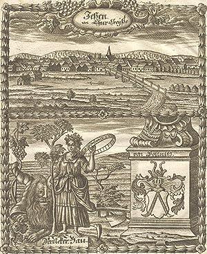 """Gesamtansicht, darunter Wappen und Allegorie, """"Jessen im Chur - Chreyße"""".: Jessen:"""