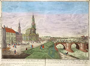 """Teilansicht, Kath. Kirche, rechts die Elbbrücke, """"Die Königl. Catholische Kirche, nebst der ..."""