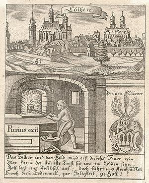 Gesamtans., darunter Allegorie, das Wappen derer von Wöener und 4-zeiliger Sinnspruch.: Köthen: