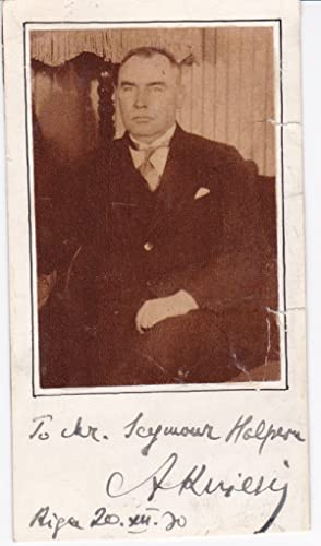 MAGAZINE PORTRAIT OF THE THIRD PRESIDENT OF LATVIA ALBERTS KVIESIS, INSCRIBED AND SIGNED BY HIM.: ...