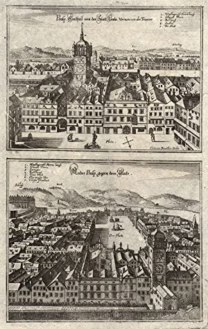 """Teilansicht, Hauptplatz, 2 Darstellungen auf einem Blatt, """"Prosp. Ein theil von der Statt Lintz..."""