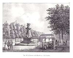 """Vue de la fontaine et du Marche au ble a Leyden"""" - Leiden Leyden Brunnen fontaine Markt Marche ..."""