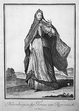 """Nürnbergische Frau im Regentuch"""" - Nürnberg Trachten costumes Kupferstich antique print: ..."""