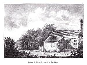 """Maison de Piere-le-grand a Zaandam"""" - Zaanstad Zaandam Peter der Große Lithographie Cloet ..."""
