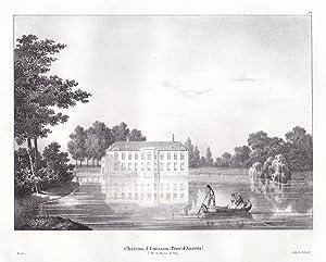 """Chateau d'Emissen"""" - Emissen Anvers Antwerpen Schloss Chateau Lithographie Cloet Belgique ..."""