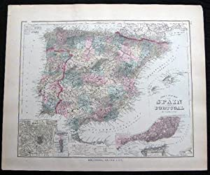 Original Hand-Colored Gray's New Map of Spain and Portugal By Frank A. Gray (and) Map of ...