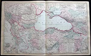 Original Double-Page Hand-Colored Gray's New Map of the Countries Surrounding the Black Sea, ...