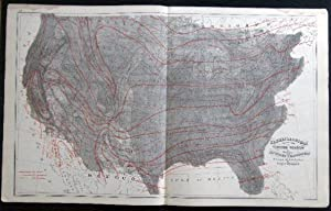 Original Double-Page Climatological Map of the United States Showing Average Temperatures Amount of...