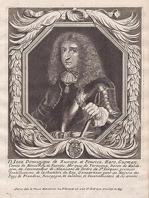 "Iean Dominique de Zungia"" - Juan Domingo de Haro de Zuniga y Fonseca Portrait Kupferstich ..."