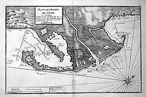 """Plan des Rades de Saufa en Catalogne"""" - Punta de la Banya Alfacs Cataluna map carte Karte Hafen..."""