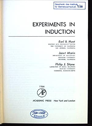 Experiments in Induction: Hunt, Earl B.,