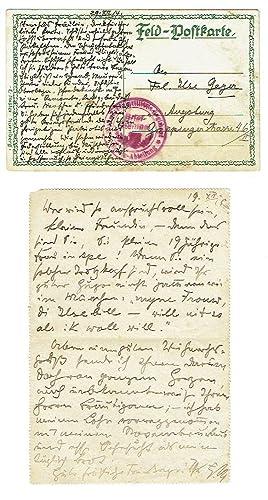 1 eigenh. Feldpostbrief u. eine Feld Postkarte.: Marc, Franz, Maler
