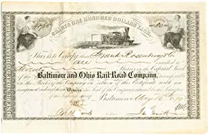 A Baltimore And Ohio Stock Signed By: JOHN GARRETT