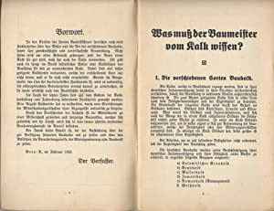 Was muß der Baumeister vom Kalk wissen? Eine Schrift zur Aufklärung.: SEIDEL, F.: