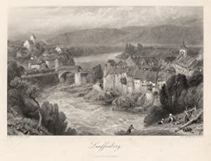 """Gesamtansicht, m. Rheinbrücke, """"Lauffenberg"""".: Laufenburg:"""