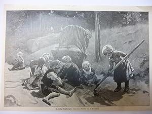 Orig. Holzstich - Kinder - Sonnige Kinderzeit. Nach einem Gemälde von B. Genzmer.