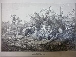 Orig. Holzstich - Kinder - Im Grünen. Nach einer Aquarelle von Ludwig Richter.