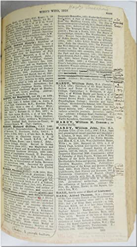 "WHO'S WHO 1918. AN ANNUAL BIOGRAPHICAL DICTIONARY WITH WHICH IS INCORPORATED ""MEN AND WOMEN OF TH..."