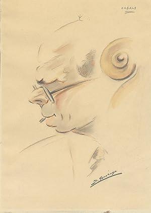 Original bust-length portrait drawing of the famed: CASALS, Pablo 1876-1973]