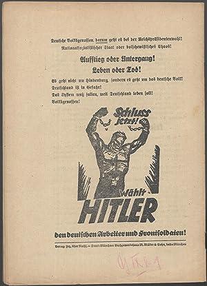 Warum Hindenburg? (= Kampfschrift, Broschürenreihe der Reichspropaganda-Leitung der NSDAP, Heft 7.)...