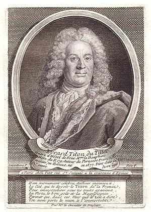 """""""Evrard Titon du Tillet"""" - Evrard Titon du Tillet historien gravure Portrait Kupferstich ..."""