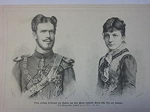 Orig. Holzstich - Bayrisches Königshaus - Prinz Ludwig Ferdinand von Bayern und seine Braut ...