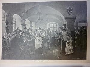 Orig. Holzstich - Bayrisches Bier - Im Hofbräuhause. Nach dem Gemälde von F. Laczlo.