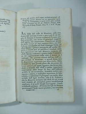 Storia ed analisi dell'acqua acidula minerale di Montione presso Arezzo con un appendice sopra ...