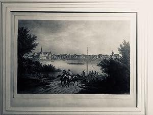 Coswig. - Gesamtansicht über die Elbe mit Fähre und zwei Reitern. Orig.-Lithographie von C. W. ...