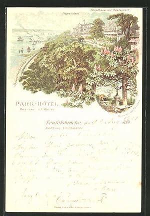 Lithographie Hamburg-Nienstedten, Park-Hotel Teufelsbrücke von C. F. Möller, Blick von der Terrasse...