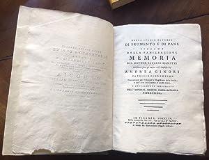 Bild des Verkäufers für Delle specie diverse di frumento e di pane, siccome della panizzazione (sic). Memoria. zum Verkauf von Libreria Antiquaria Pregliasco