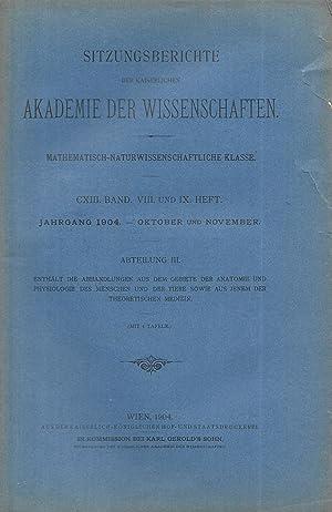 Sitzungsberichte der Kaiserlichen Akademie der Wissenschaften. Mathematisch-Naturwissenschaftliche ...