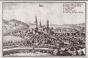 """""""Isen"""" - Isen Erding Oberbayern Ansicht view Kupferstich antique print: Merian, Matthaeus:"""